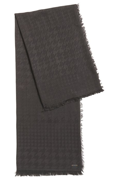 Houndstooth scarf in a modal-wool blend, Anthracite