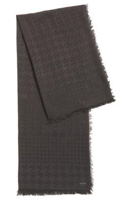 Sjaal van een mix van modal en wol met pied-de-poule-dessin, Antraciet