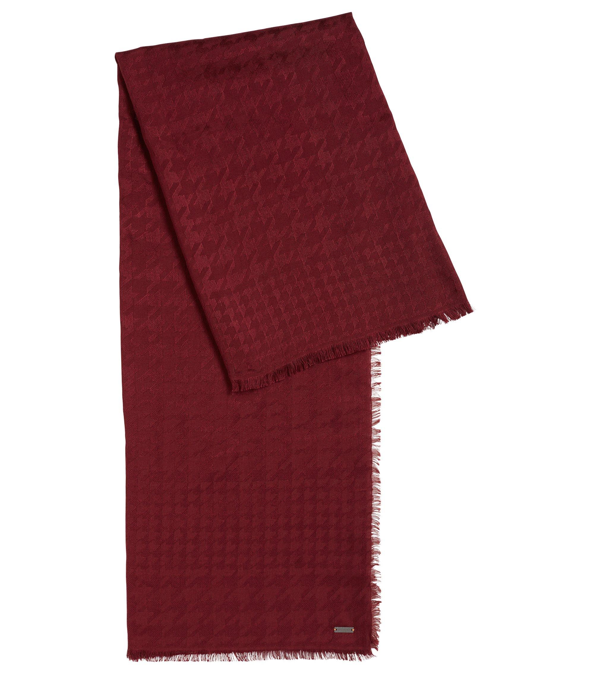 Sciarpa con motivo pied de poule in misto modal e lana, Rosso scuro