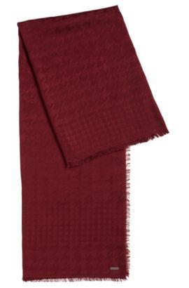 Écharpe pied-de-poule en mélange de modal et de laine, Rouge sombre