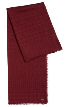 Houndstooth scarf in a modal-wool blend, Dark Red