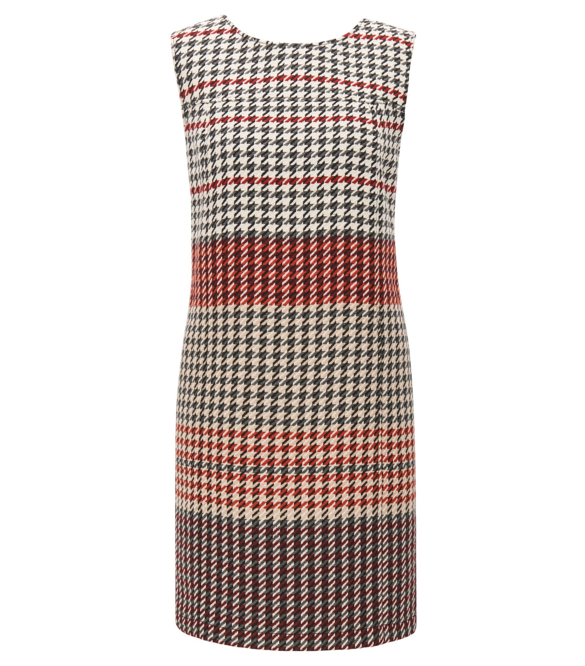Shift dress in midweight houndstooth fabric, Patterned