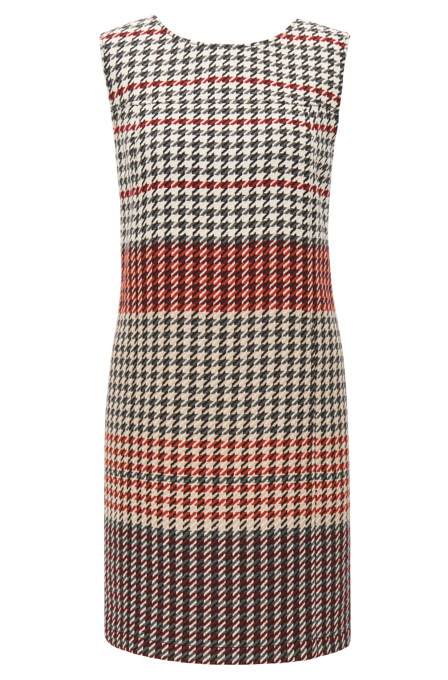 Shift dress in midweight houndstooth fabric