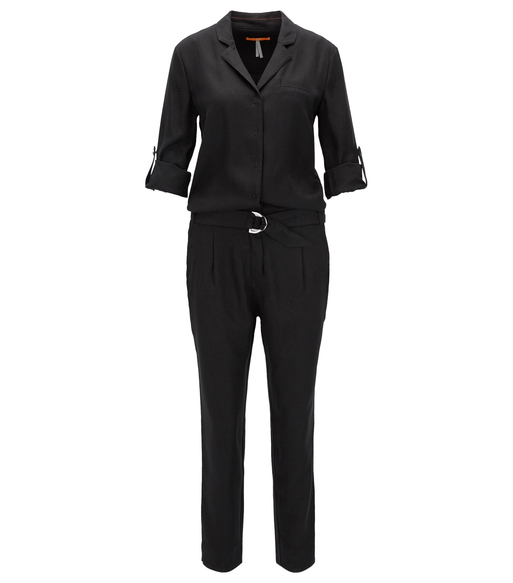 Jumpsuit in slightly structured fabric, Black