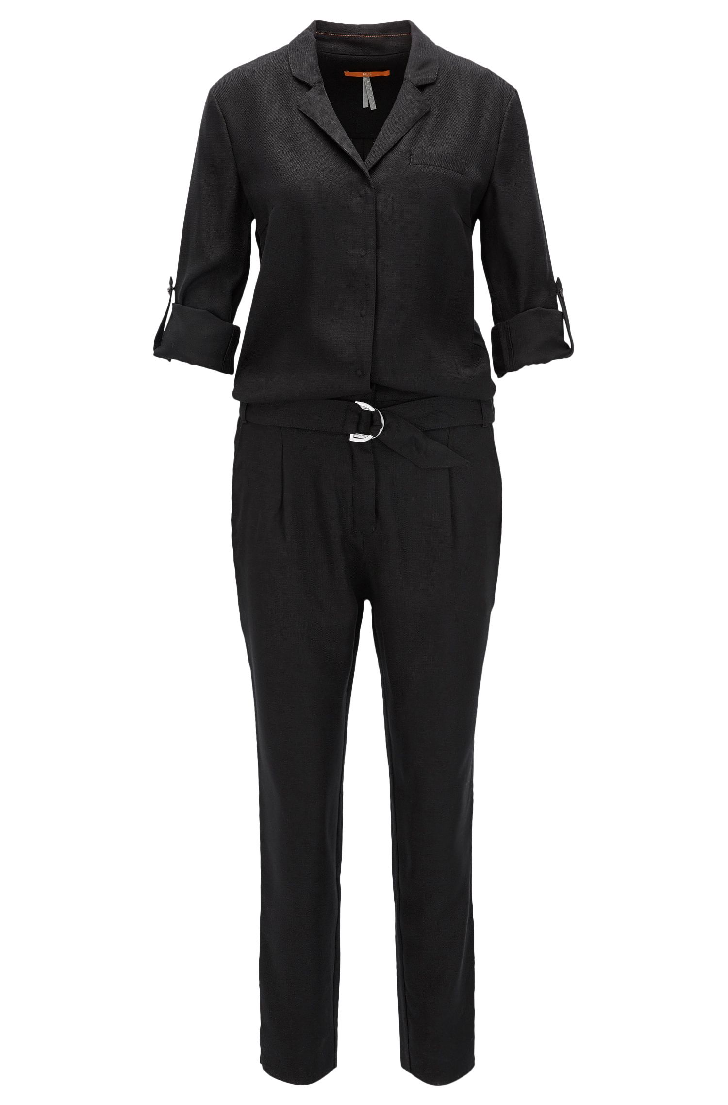 Regular-Fit Jumpsuit aus dezent strukturiertem Material-Mix