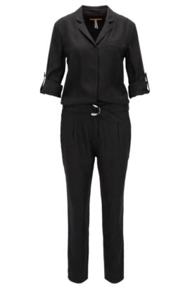 Jumpsuit in slightly structured fabric, Noir