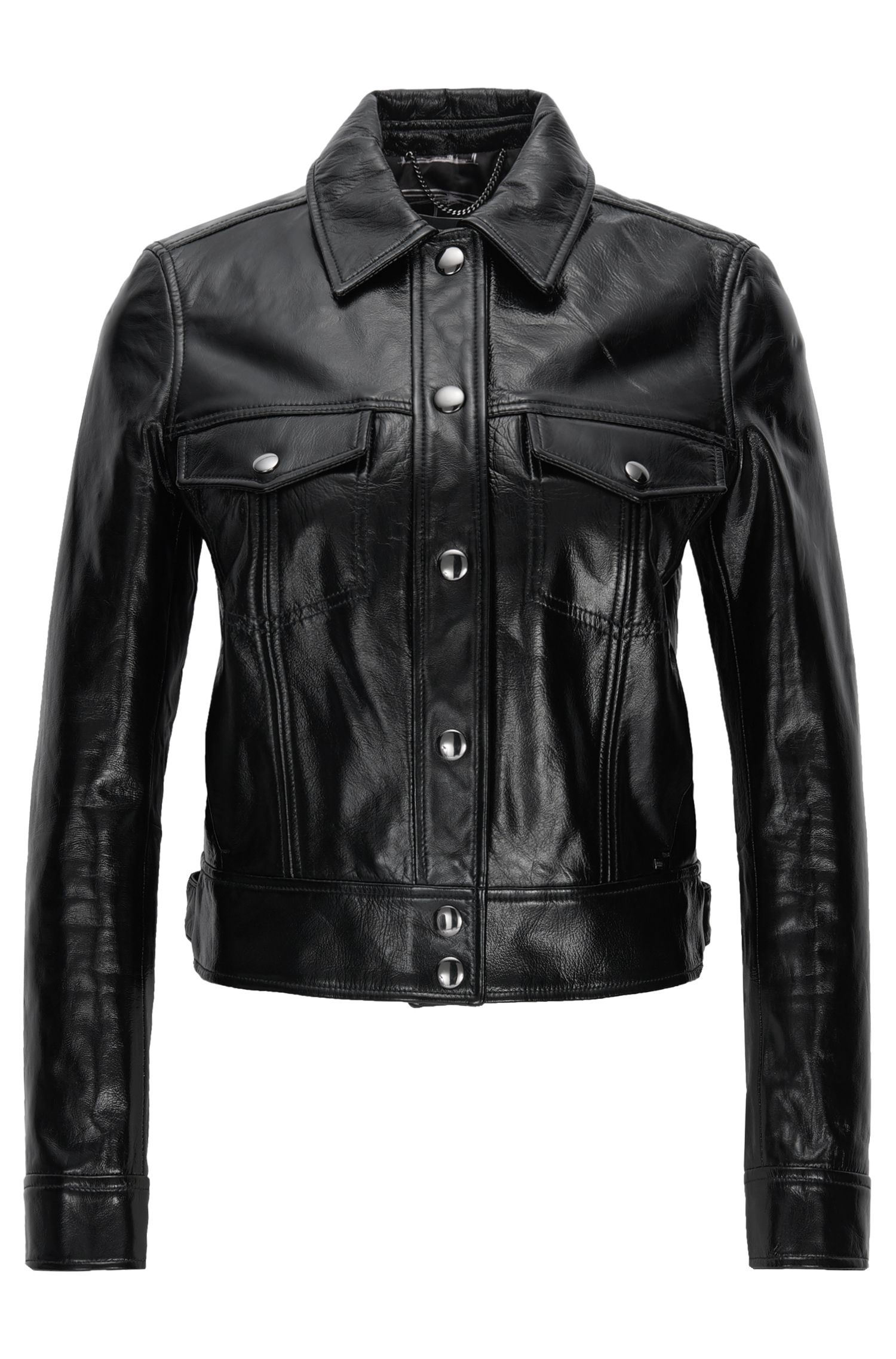 Regular-fit cropped leather jacket