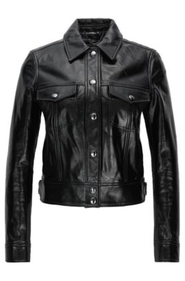 Regular-fit cropped leather jacket, Black