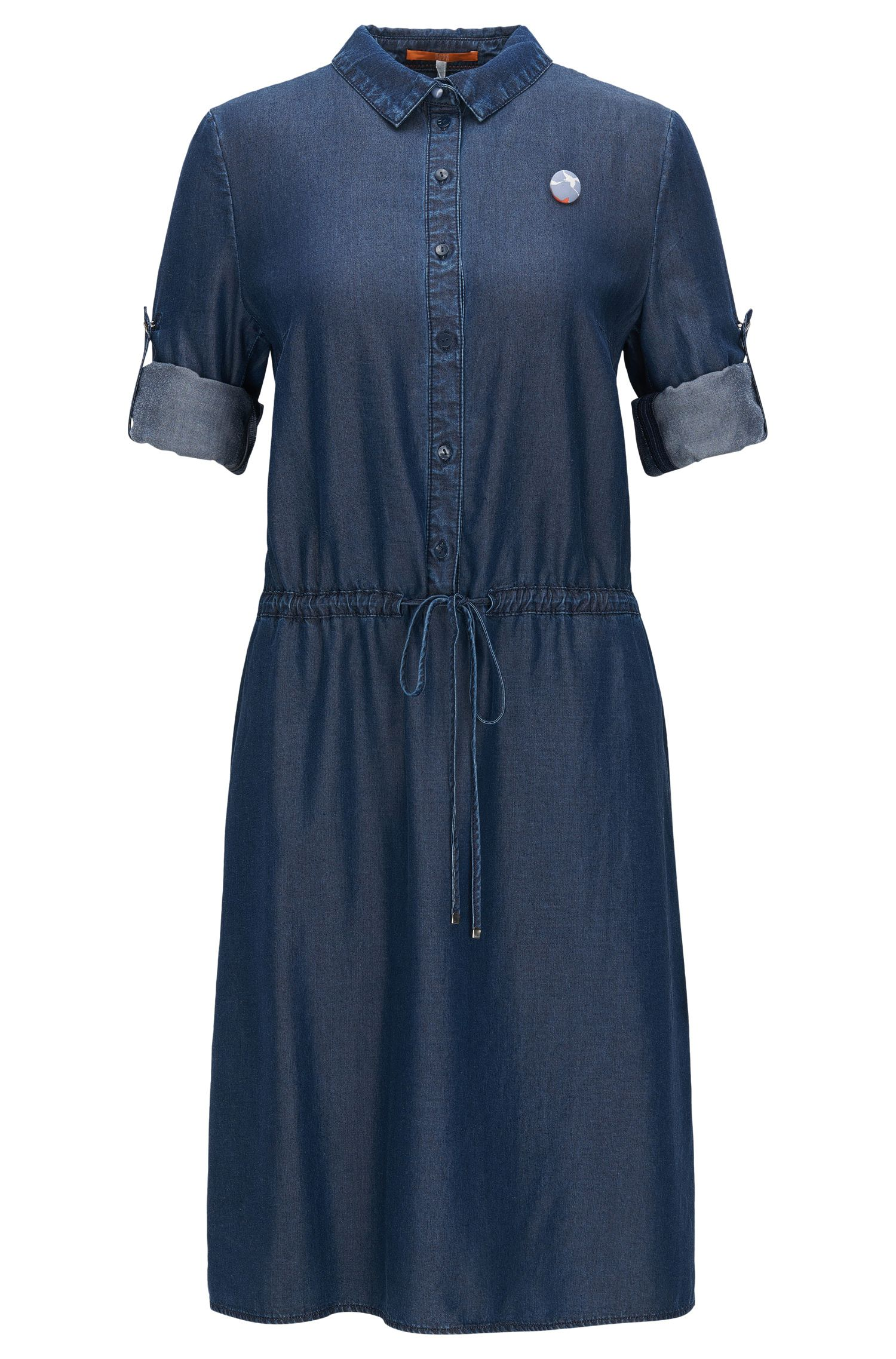 Shirt dress in washed denim