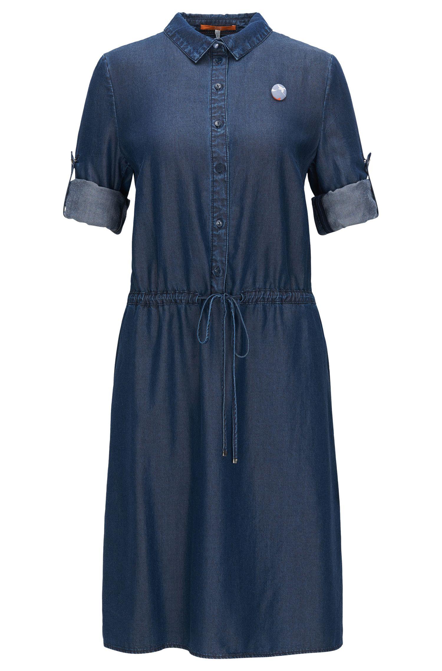 Shirt dress in washed denim