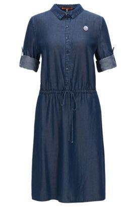 Hemdblusenkleid aus Denim in Washed-Optik, Dunkelblau