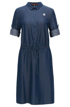 Shirt dress in washed denim, Dark Blue