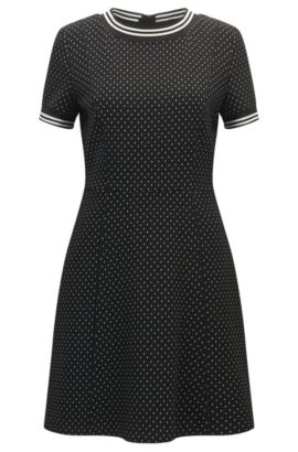 Micro-pattern dress in stretch interlock fabric, Patterned