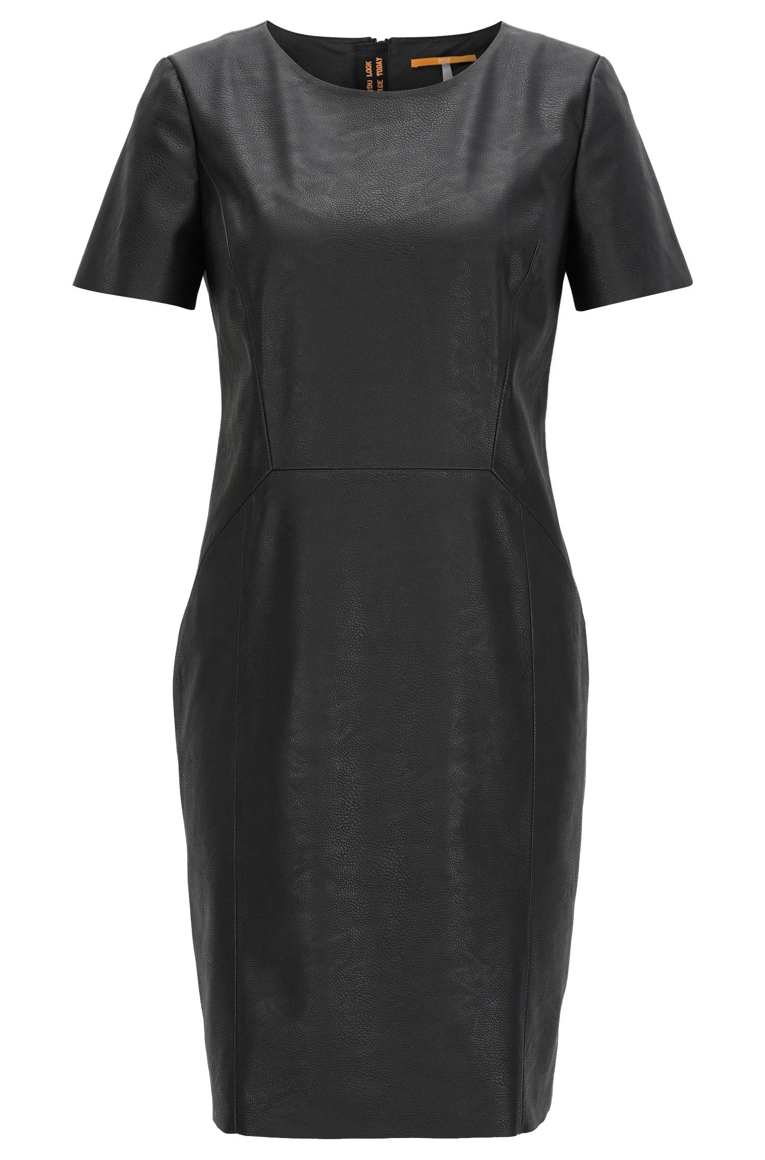 Short-sleeved faux-leather shift dress