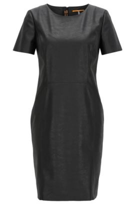 Short-sleeved faux-leather shift dress, Black