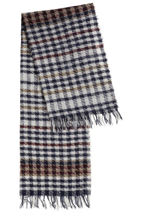 Fluffy scarf in multi-coloured houndstooth check, Patterned