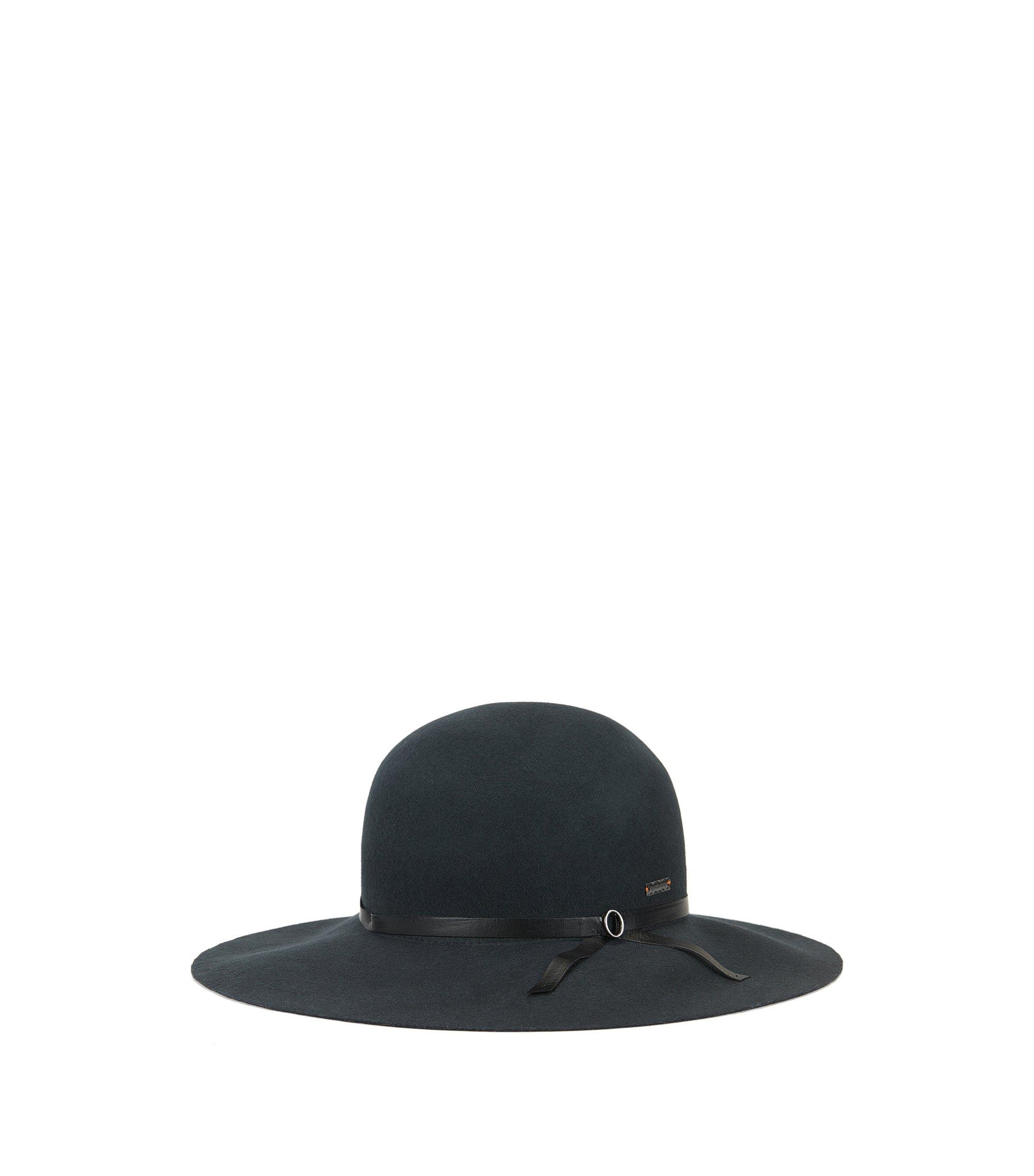 Cappello in lana con tesa ampia, Grigio antracite