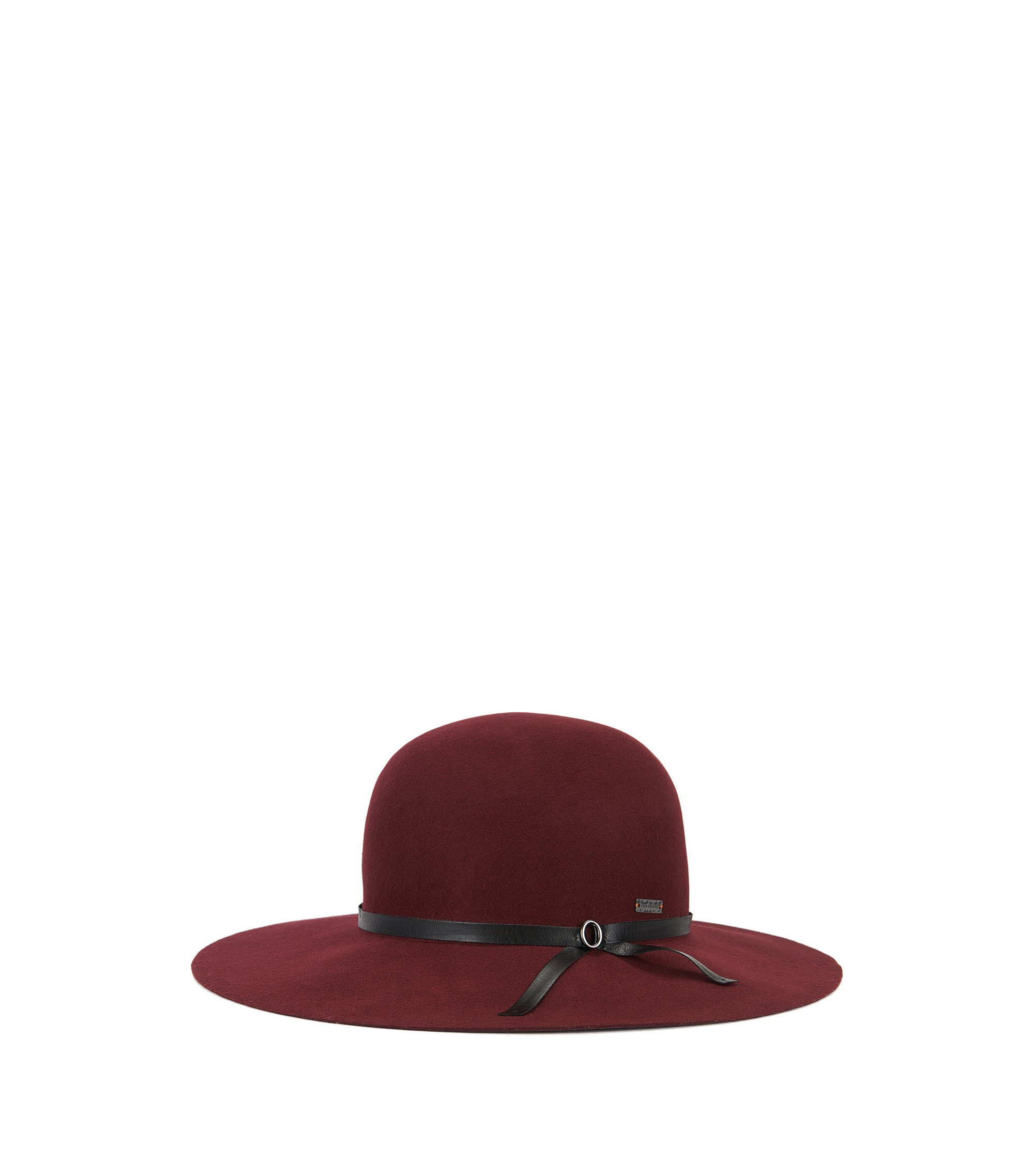 Wool hat with a wide brim, Dark Red