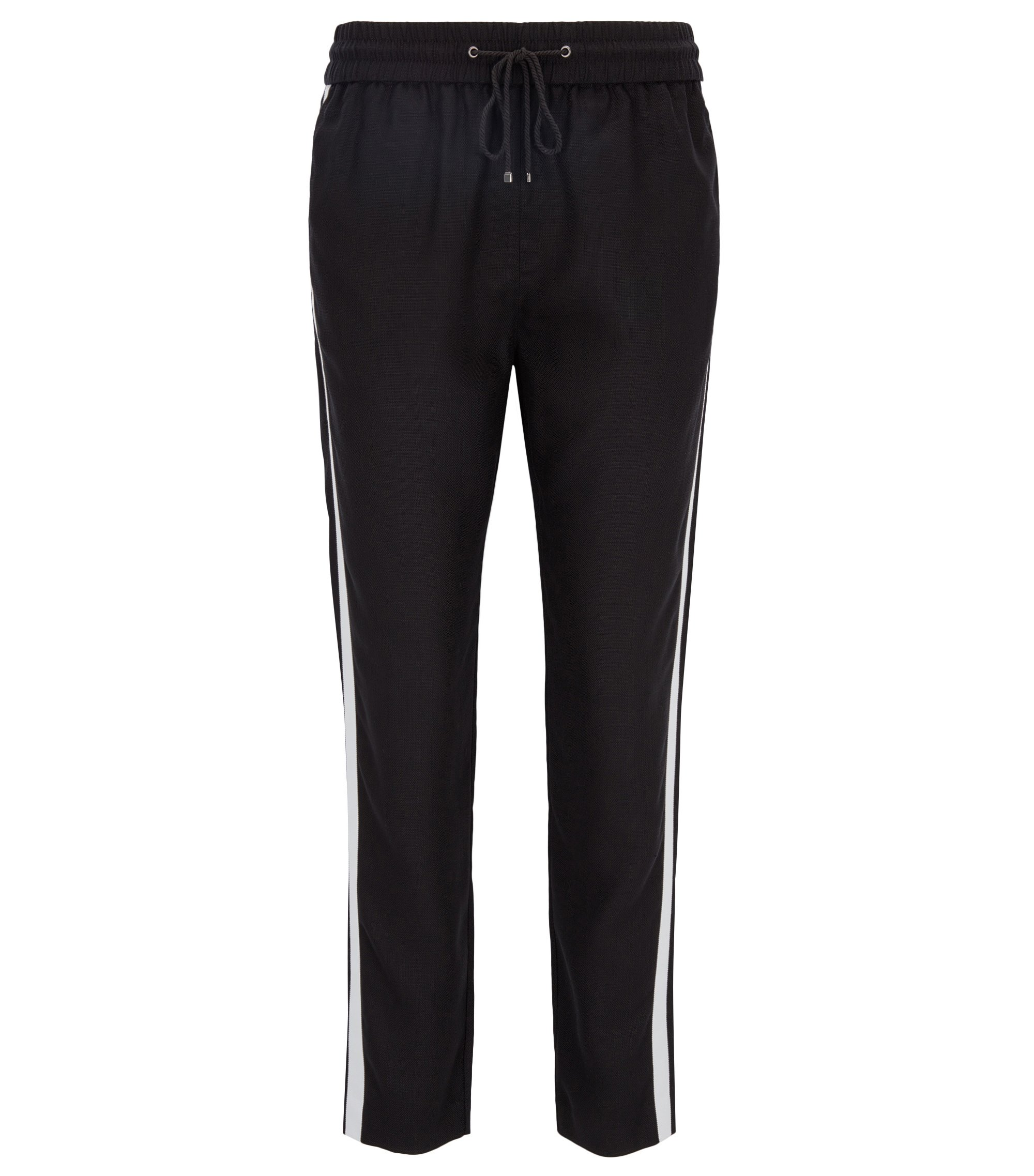 Regular-fit casual trousers in technical fabric, Black