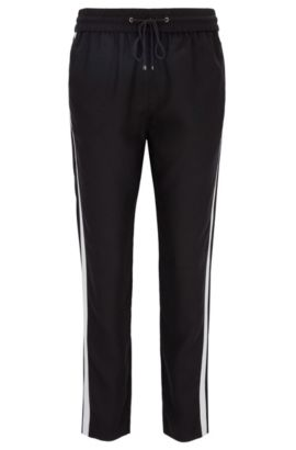 Regular-fit casual trousers in technical fabric, Noir