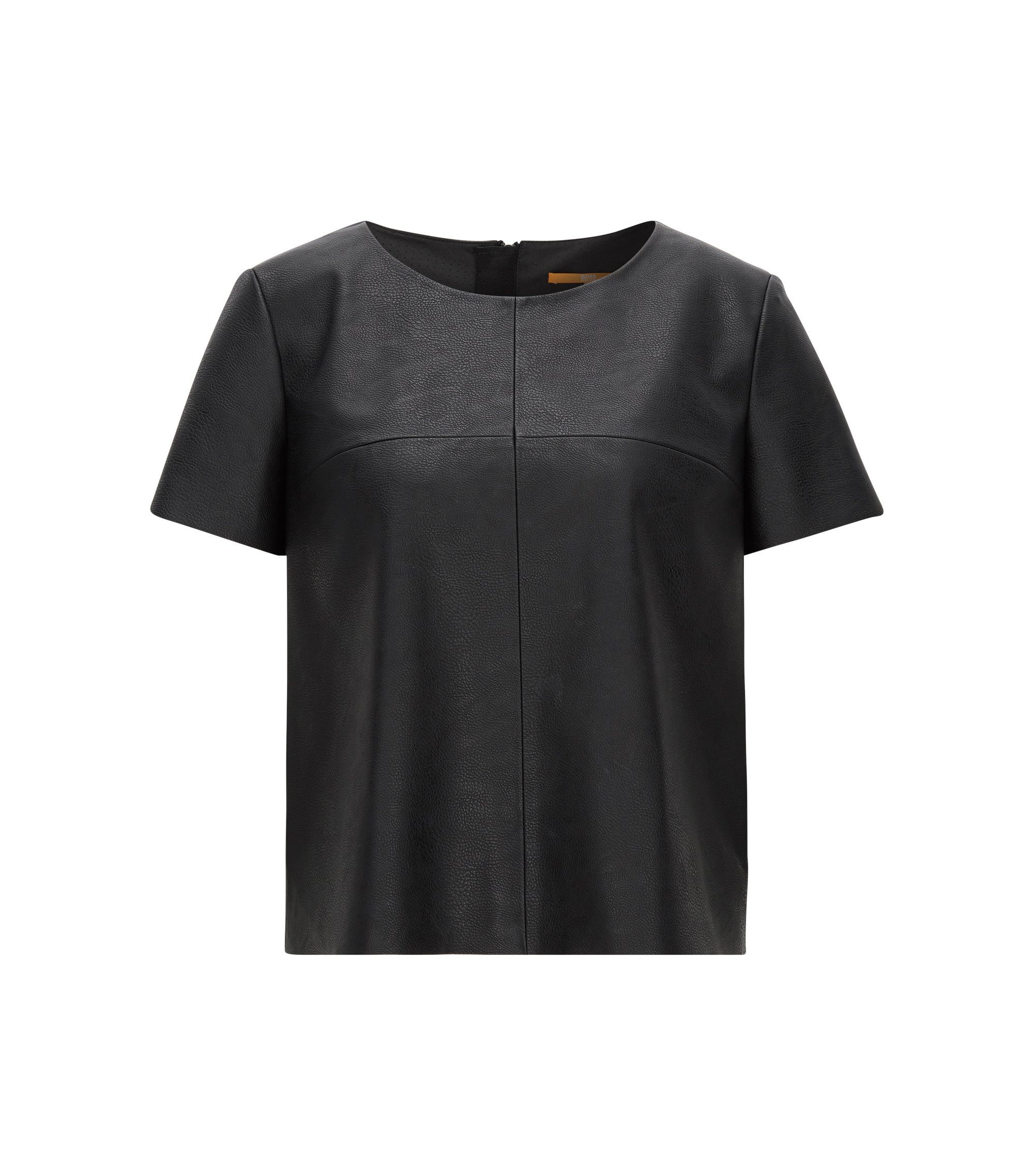Short-sleeved faux-leather top, Black