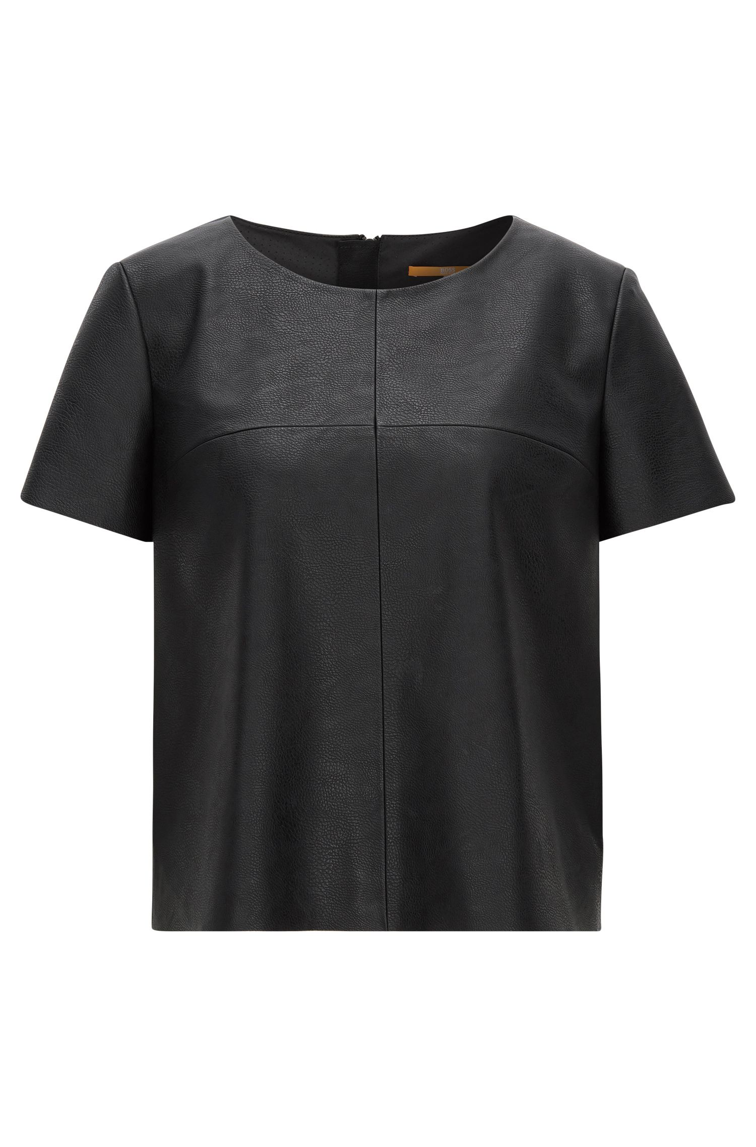 Short-sleeved faux-leather top