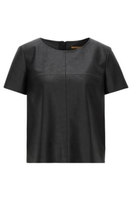 Short-sleeved faux-leather top, Zwart