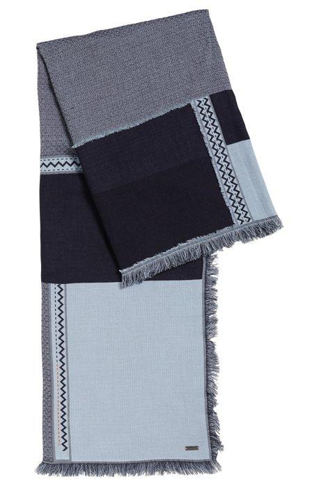 Colourblock scarf in pure cotton, Dark Blue