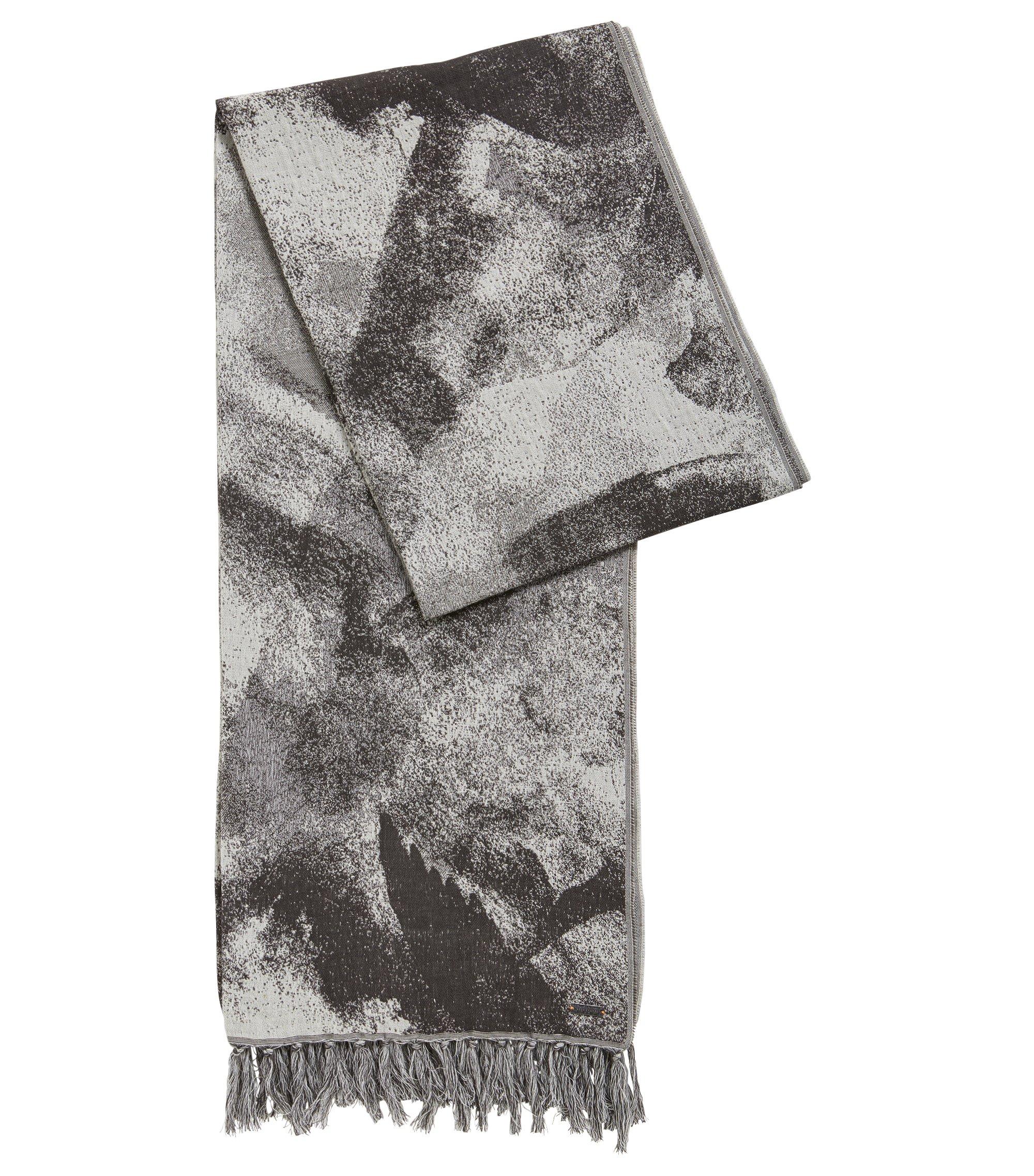 Sciarpa in misto cotone con stampa astratta, Grigio antracite