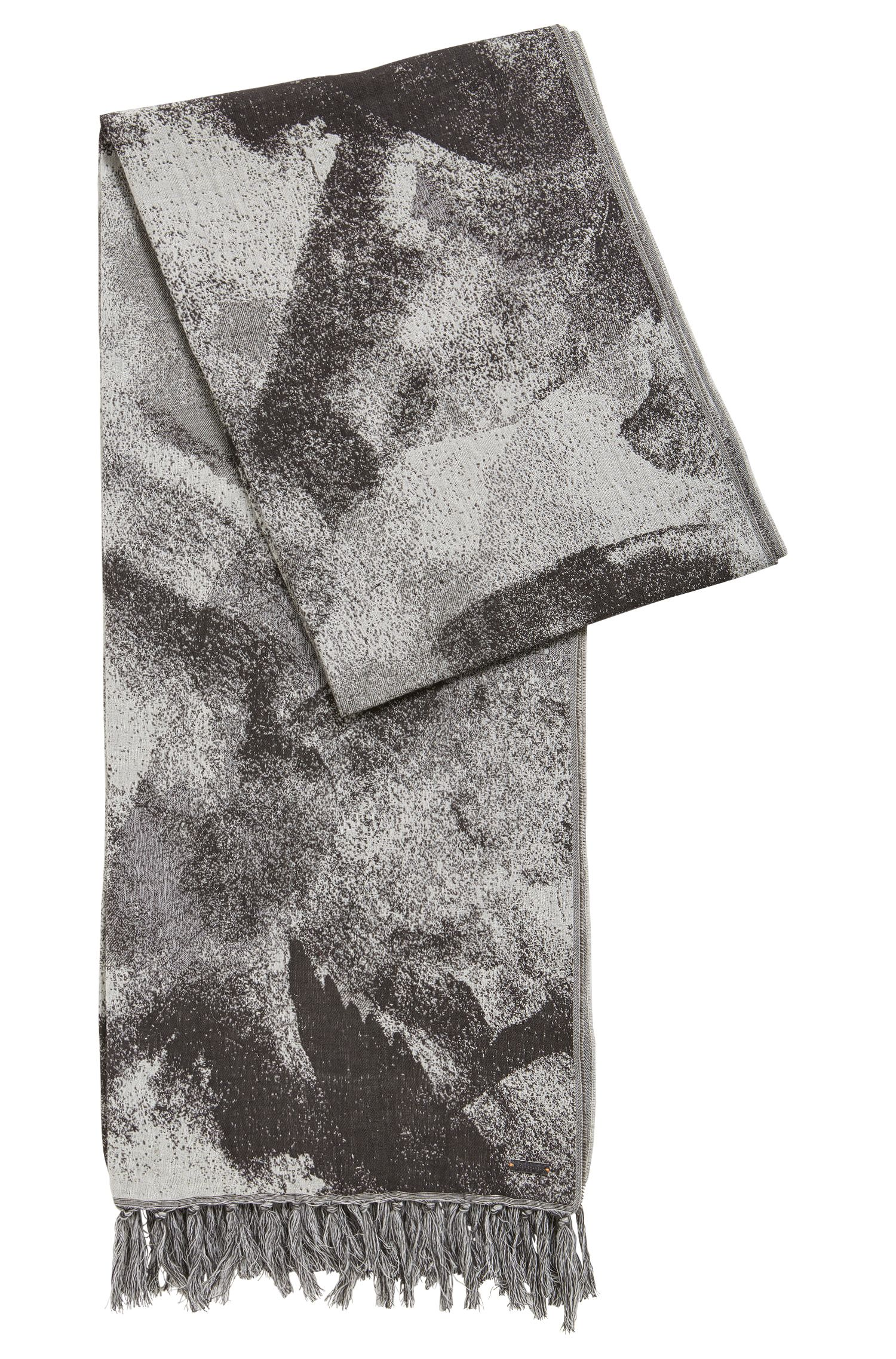 Abstract-print cotton-blend scarf