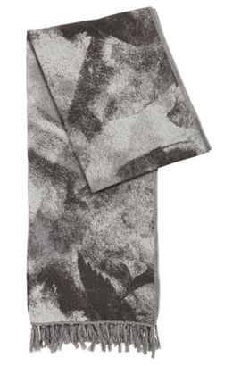 Abstract-print cotton-blend scarf, Anthracite