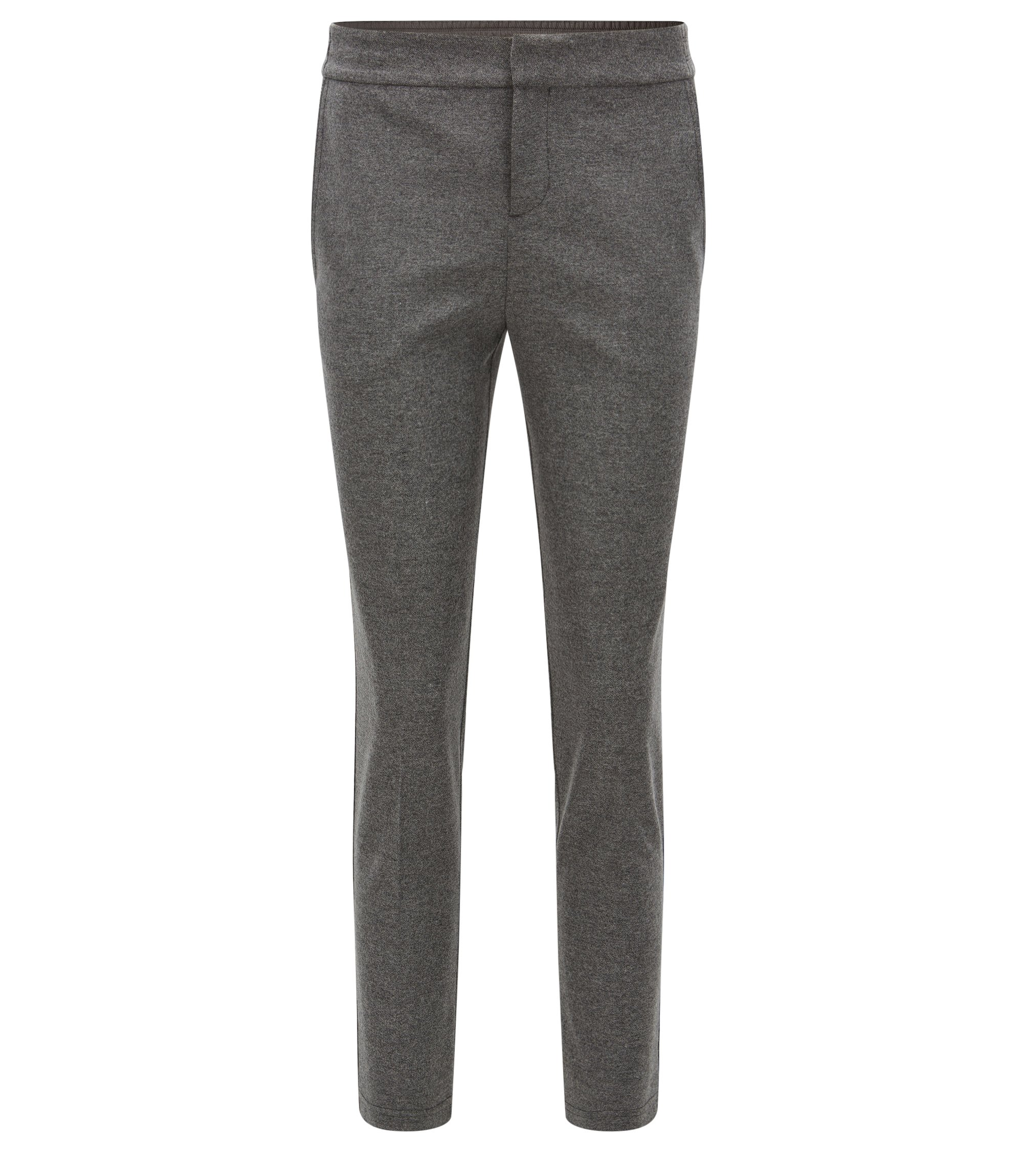 Regular-fit bonded-flannel trousers with elasticated waist, Patterned