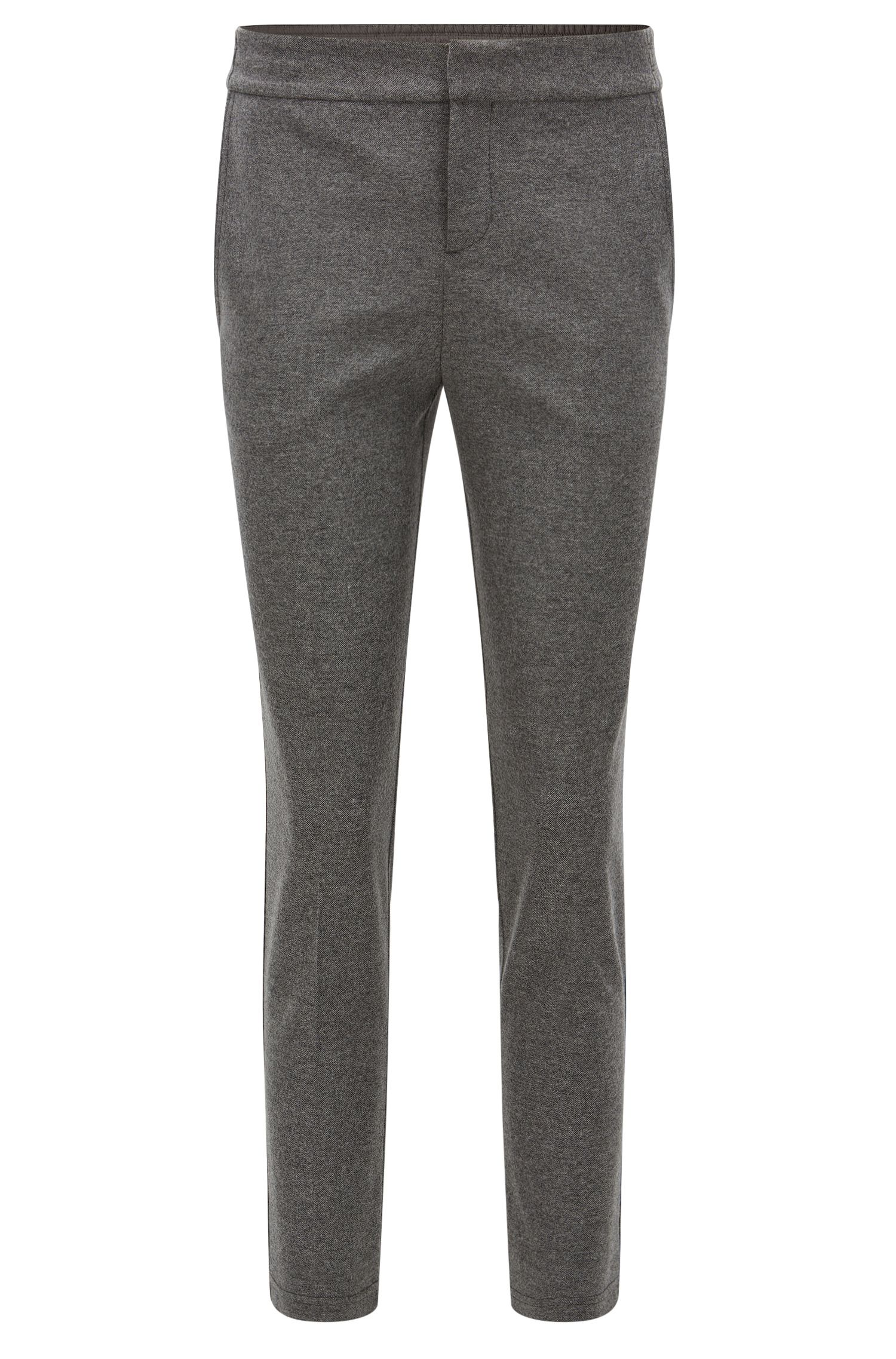 Regular-fit bonded-flannel trousers with elasticated waist