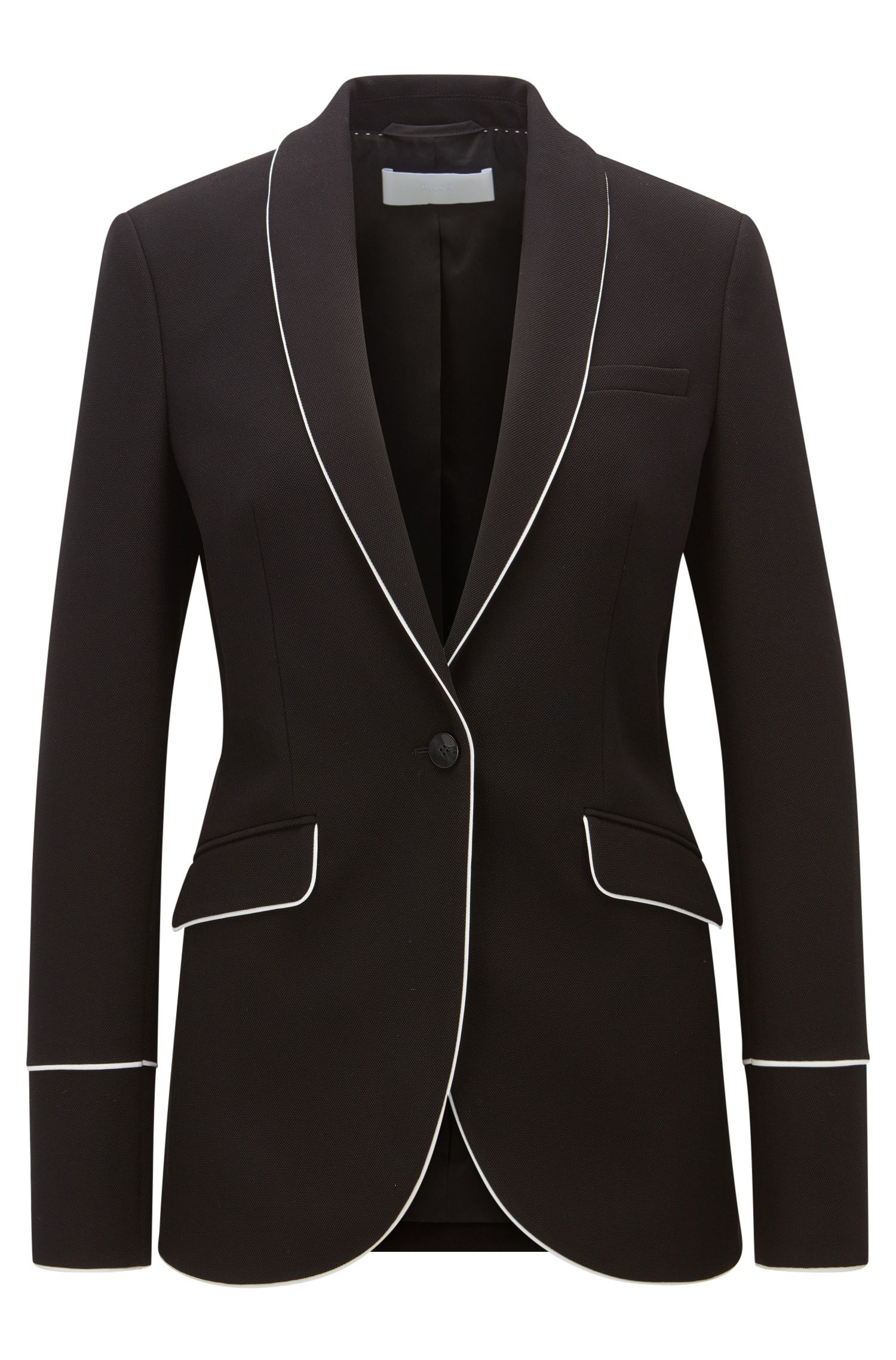 Regular-fit piped blazer in soft jersey