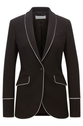 Regular-fit piped blazer in soft jersey, Black
