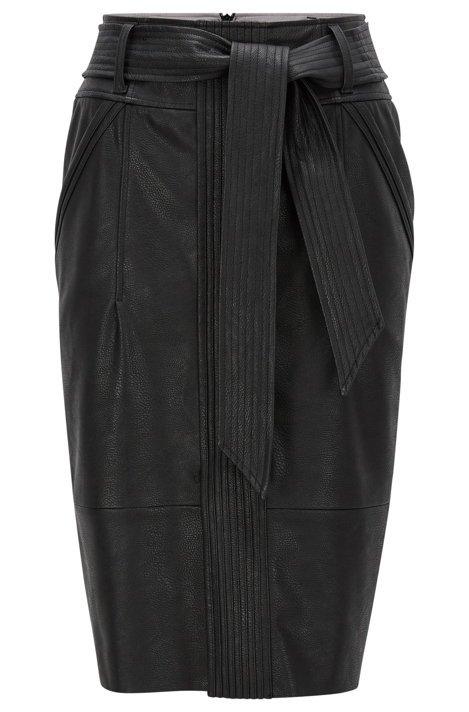 Pencil skirt in structured faux leather
