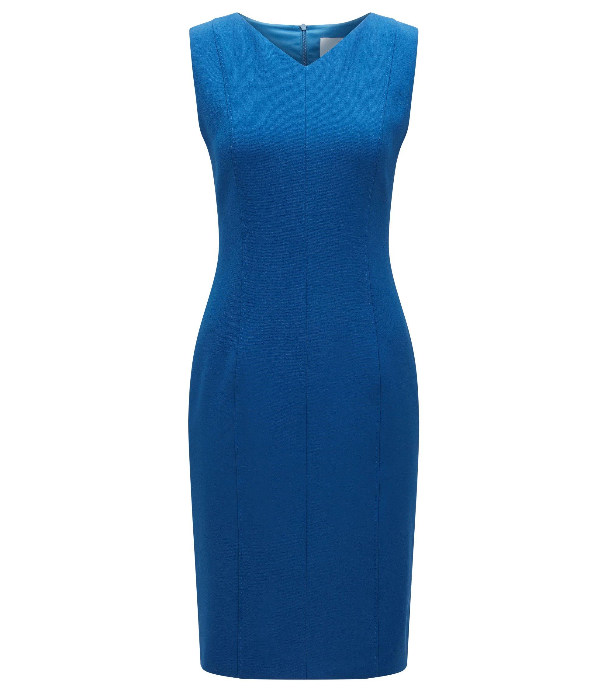 Robe droite en tissu stretch, Bleu