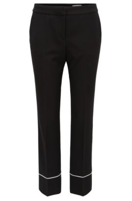 Relaxed-fit cropped trousers in soft jersey, Black