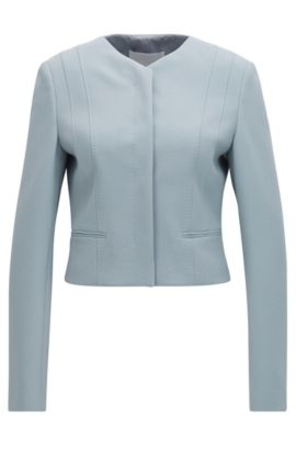 Regular-fit jacket in stretch fabric, Light Grey