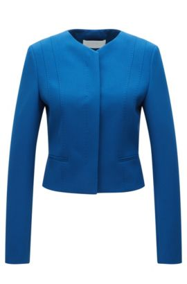 Regular-fit jacket in stretch fabric, Blue