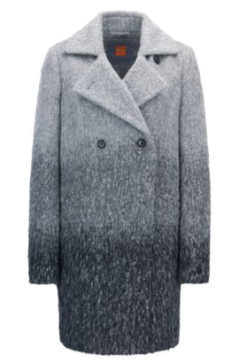 Double-breasted relaxed-fit coat in dégradé fabric, Patterned