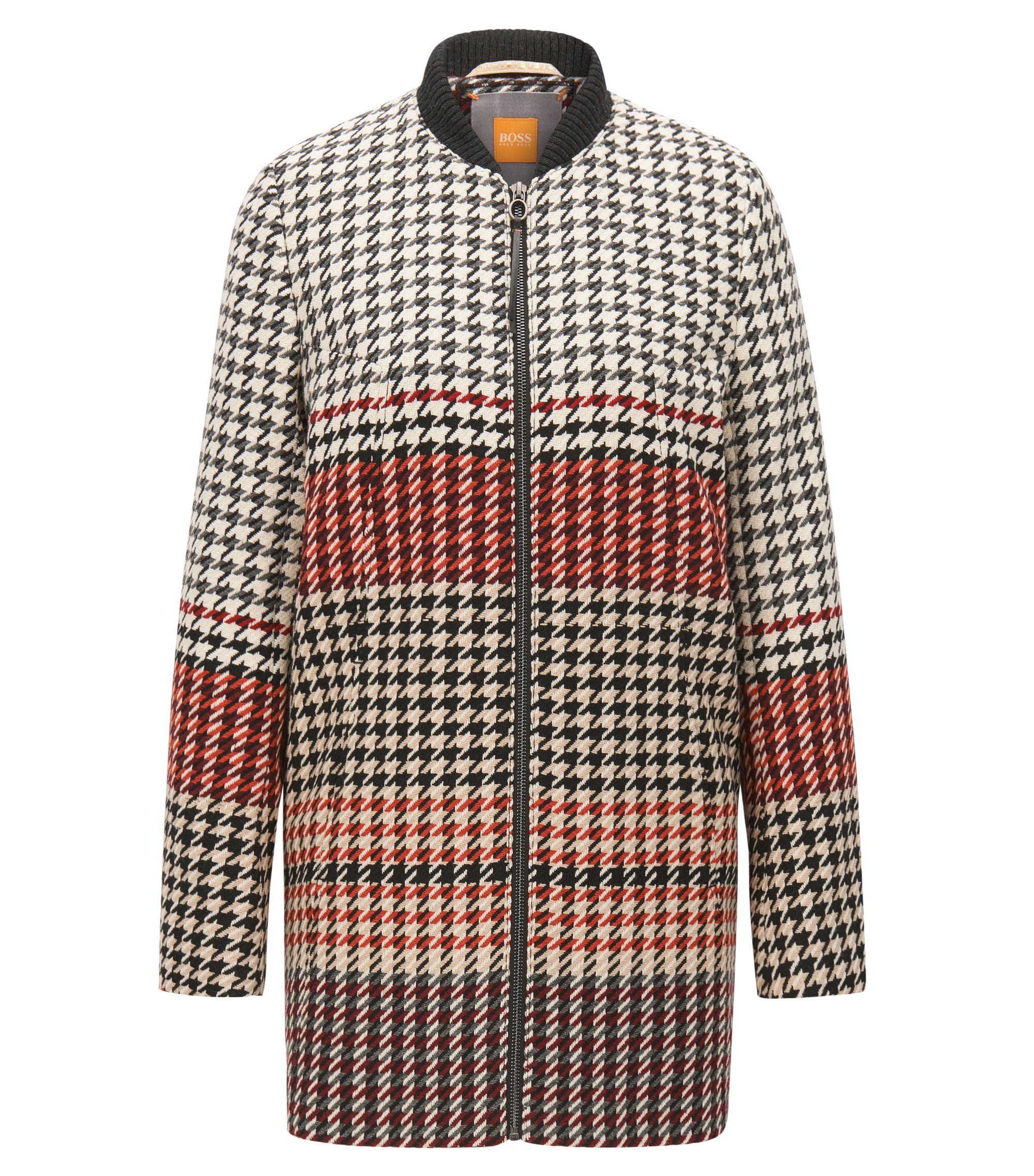 Regular-fit coat in houndstooth jacquard, Patterned