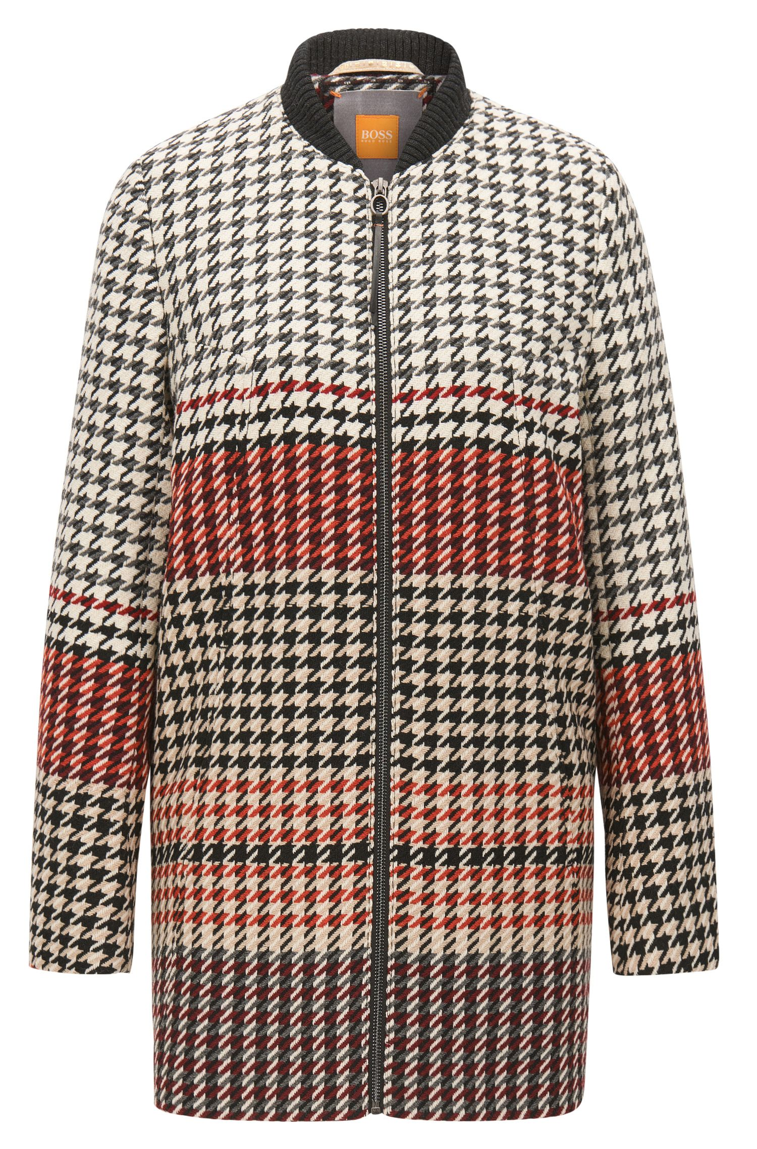 Regular-fit coat in houndstooth jacquard
