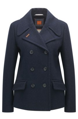 Regular-fit caban coat in a wool blend, Patterned