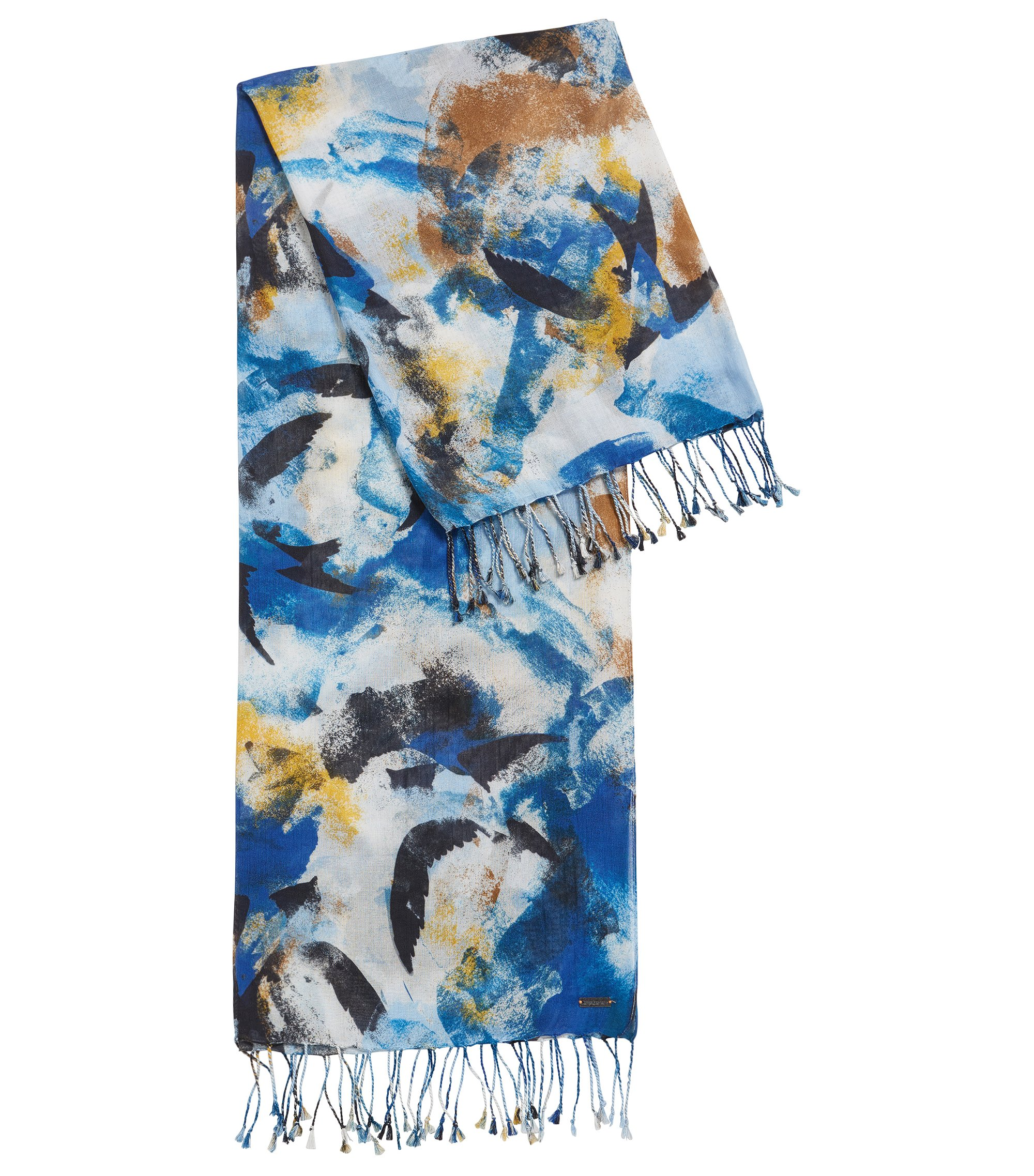 Lightweight cotton-modal blend scarf in abstract motif, Patterned