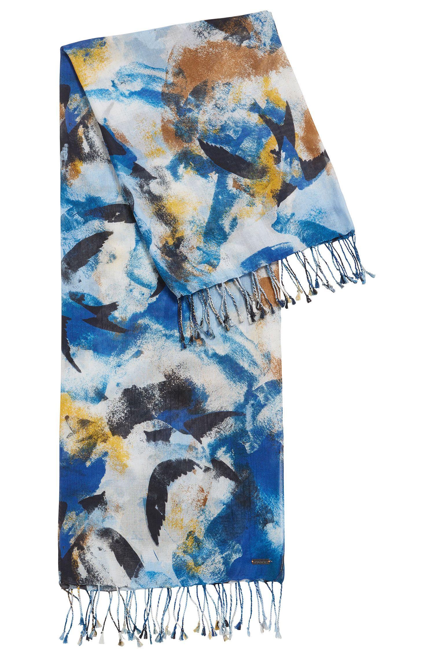 Sciarpa leggera con motivo astratto in misto cotone e modal