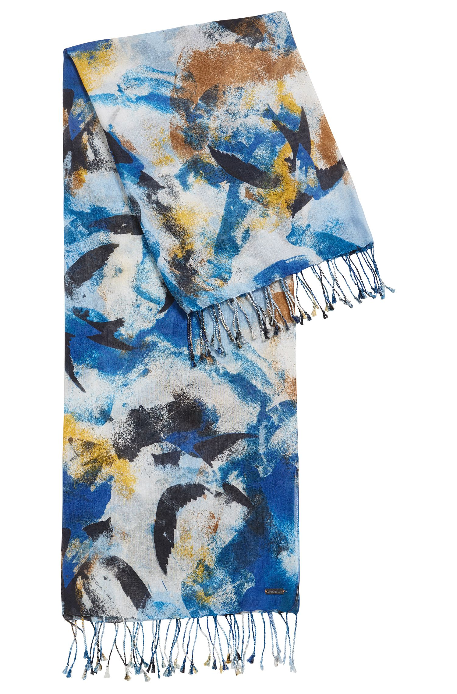 Lightweight cotton-modal blend scarf in abstract motif