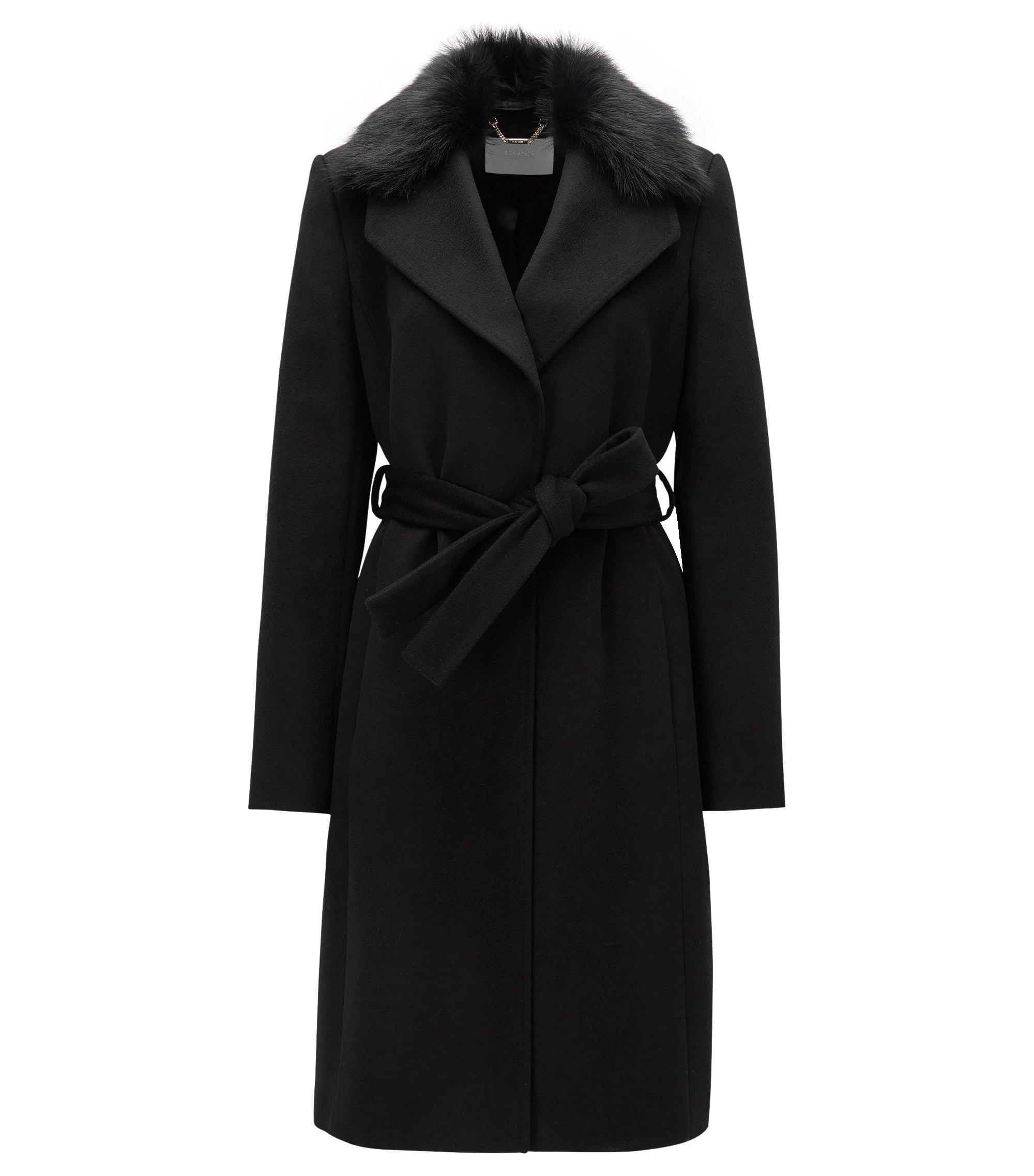 Abrigo regular fit de lana con cuello de pelo, Negro