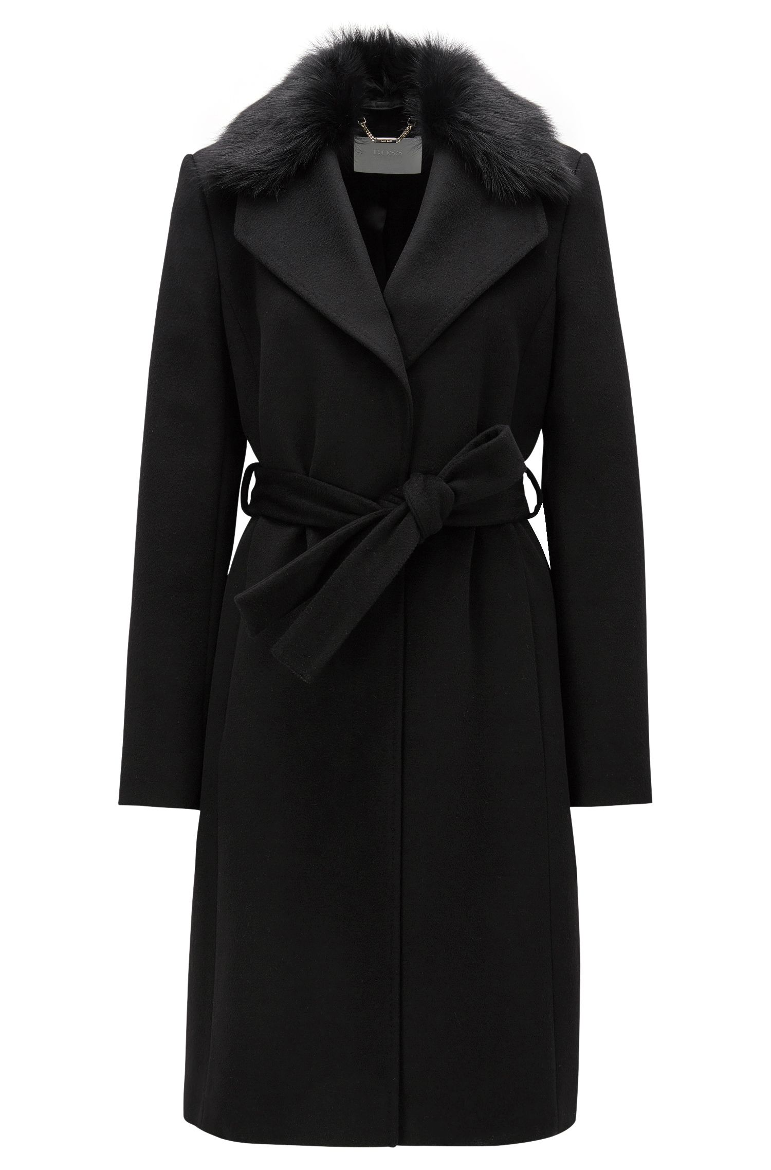 Regular-fit wool coat with fur collar