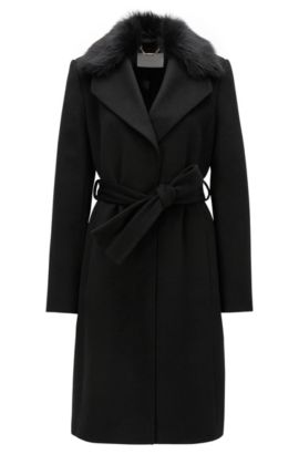 Cappotto in lana regular fit con colletto in pelliccia, Nero